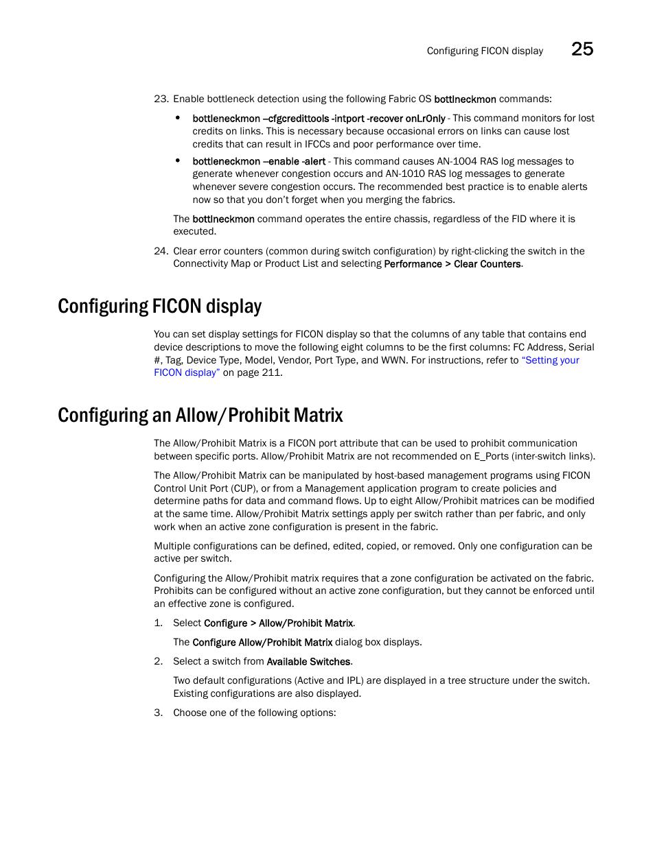 Configuring ficon display, Configuring an allow/prohibit matrix, Under |  Brocade Network Advisor SAN User Manual v12.1.0 User Manual | Page 949 /  1690