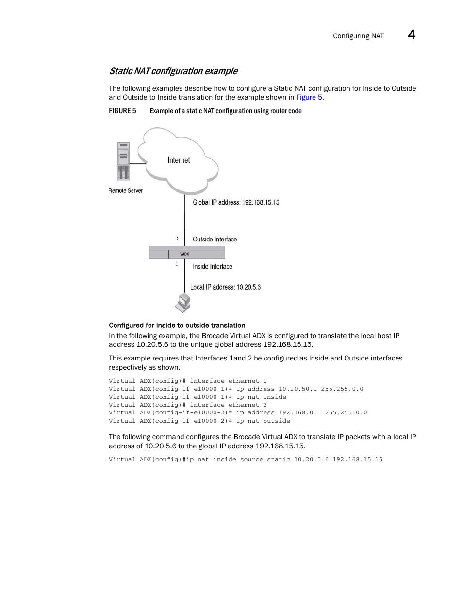 Static nat configuration example | Brocade Virtual ADX