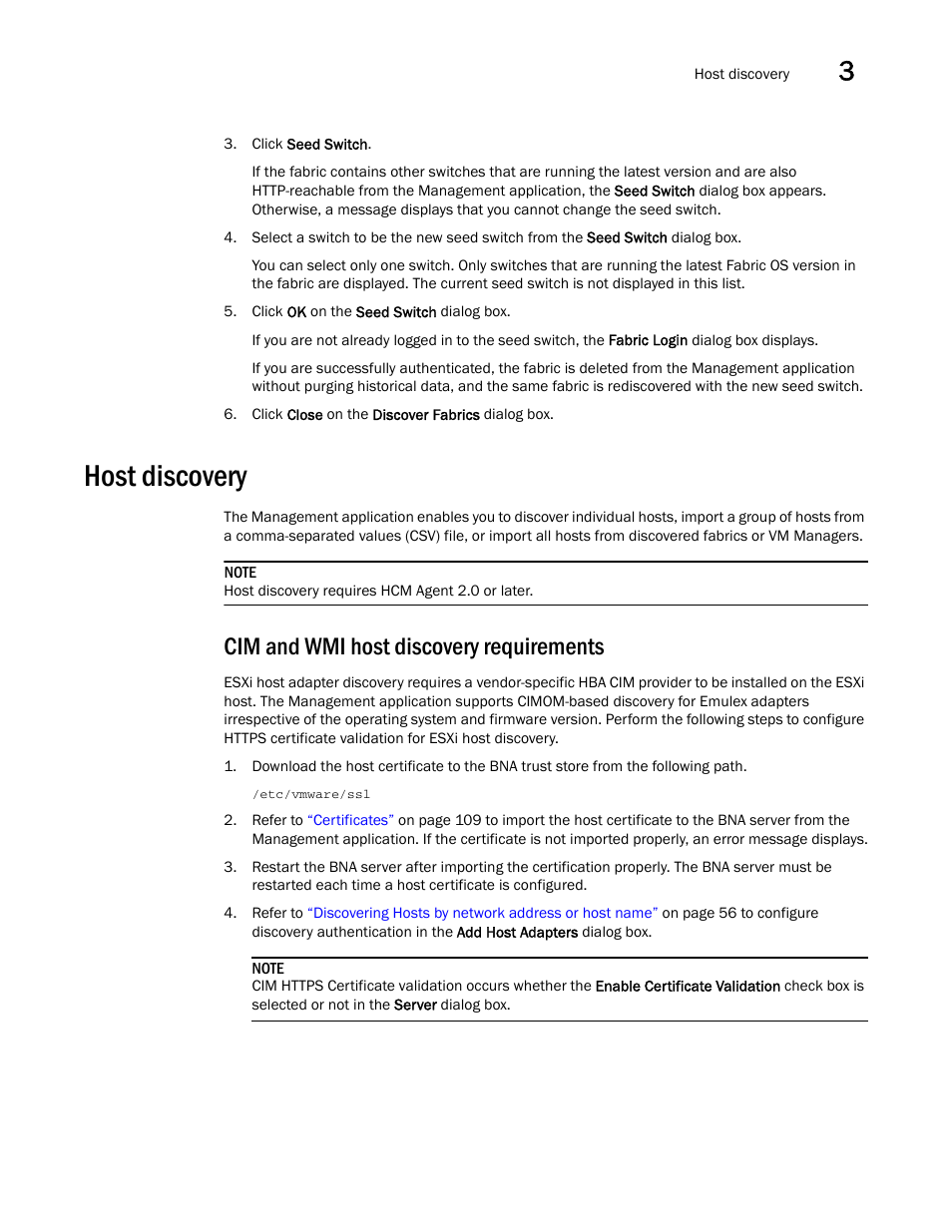 Host discovery, Cim and wmi host discovery requirements | Brocade