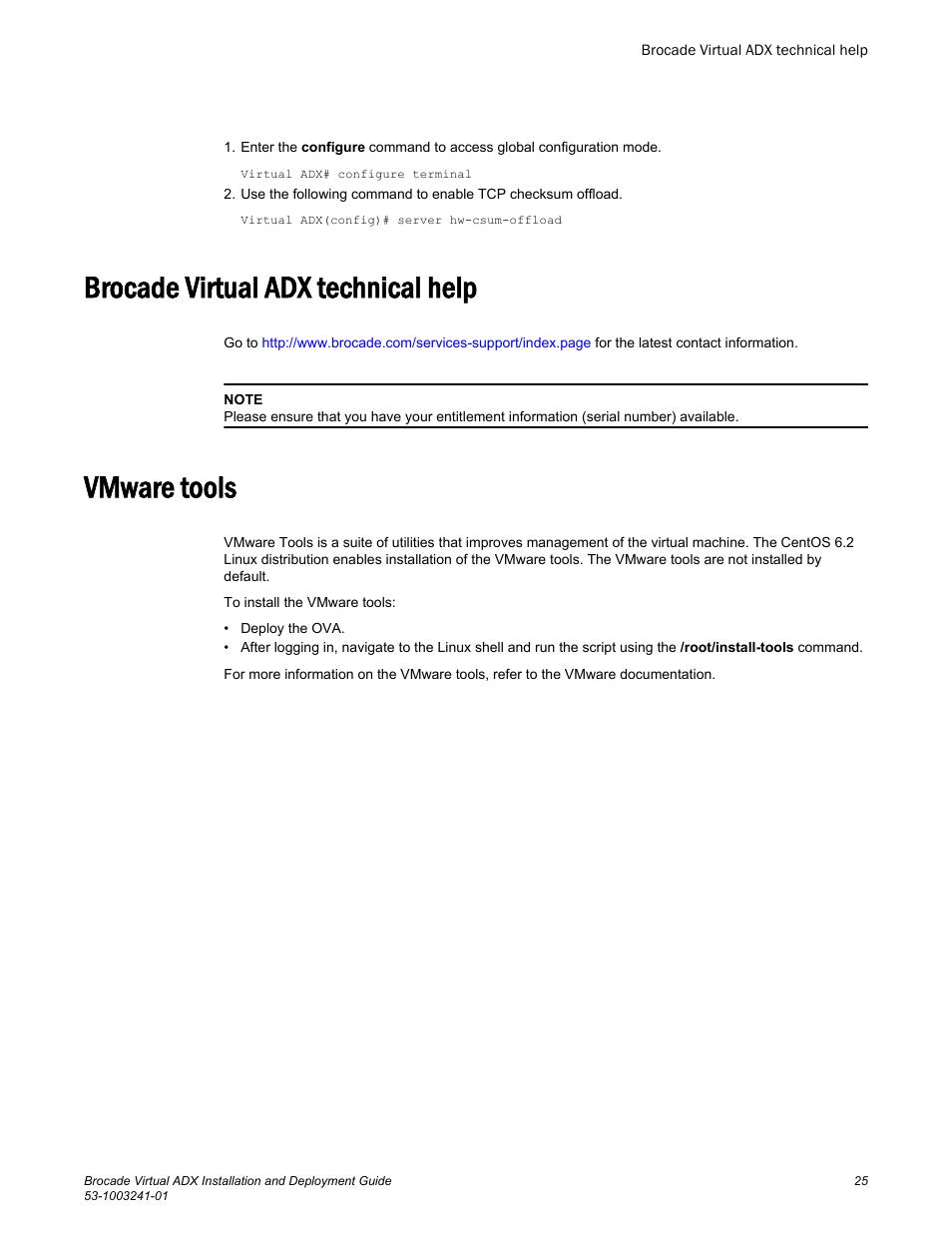 Brocade virtual adx technical help, Vmware tools, Brocade