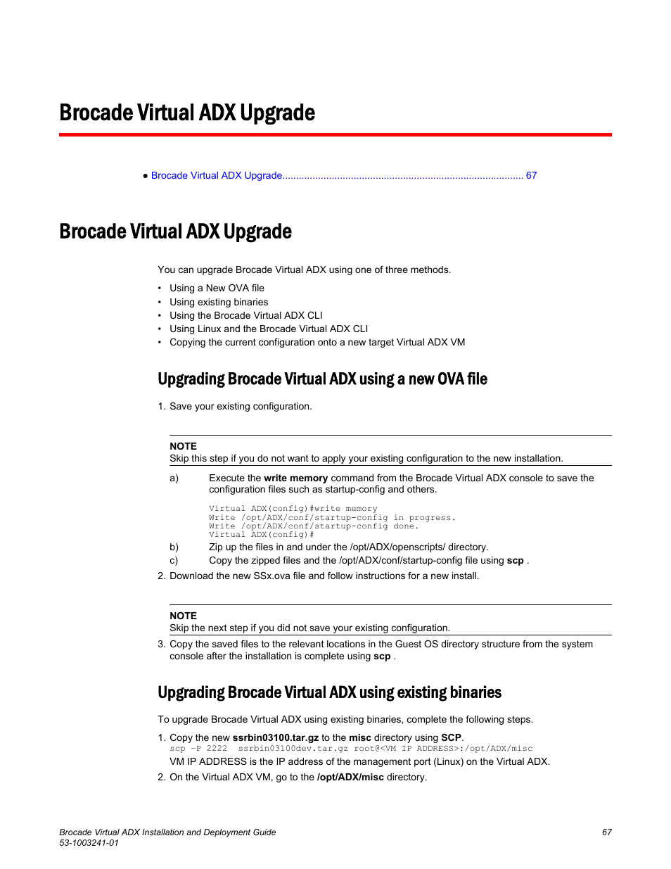 Brocade virtual adx upgrade, Upgrading brocade virtual adx