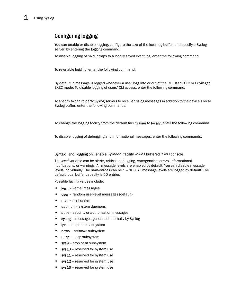 Configuring logging | Brocade Virtual ADX Administration Guide