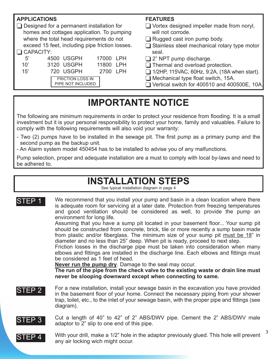 Installation steps, Importante notice, Step 1 | Burcam