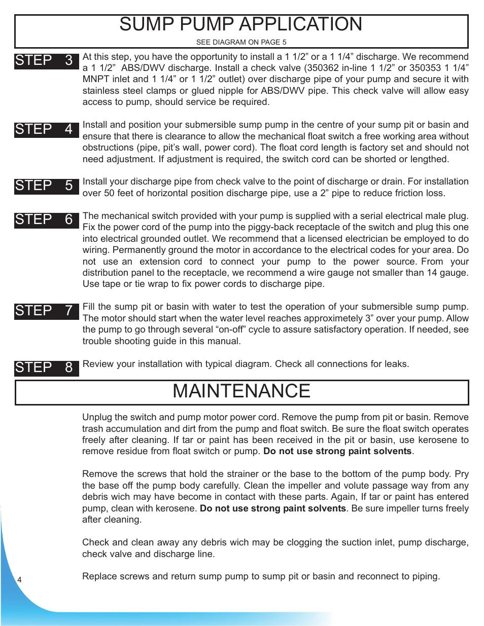 Maintenance Sump Pump Application Burcam 300608 Cast Iron Subm Float Switch Wiring Mechanical 1 3hp 115v User Manual Page 4 6