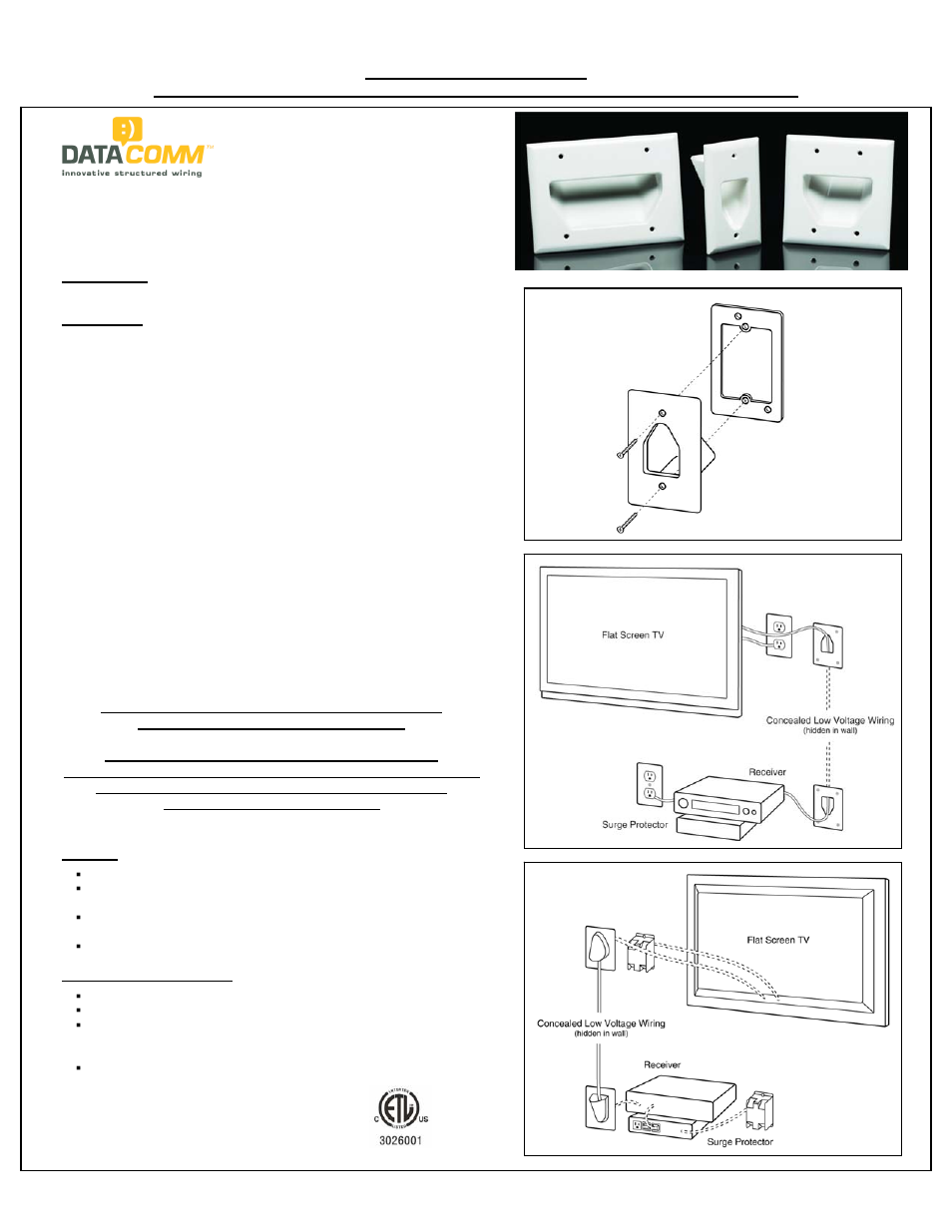 Datacomm 45 0003 Recessed Low Voltage Cable Plates User Manual 1 Electrical Wiring Inside Walls Page Also For 0002 0001