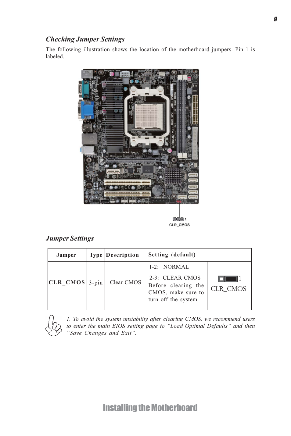 Mainboard user manual.