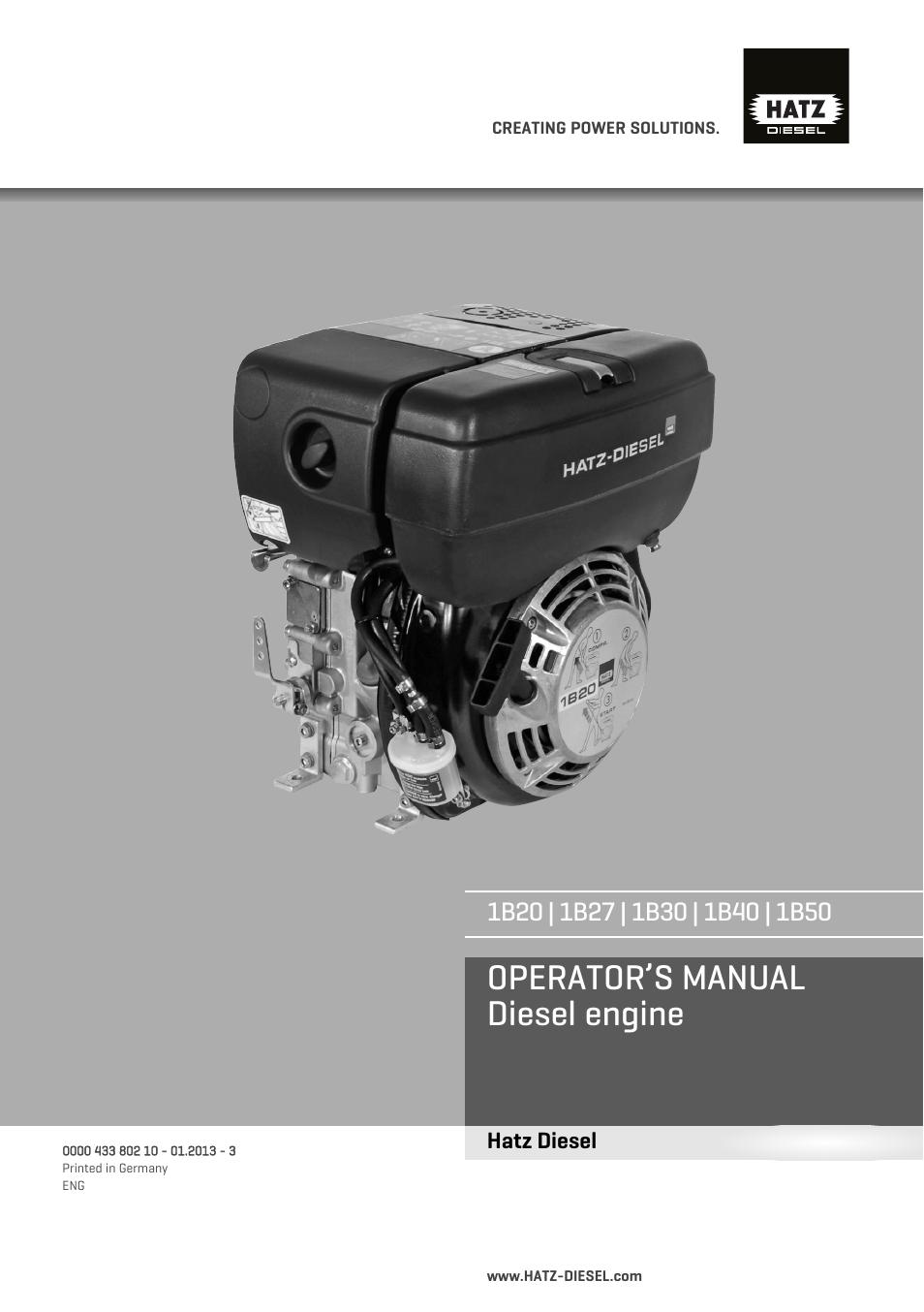 HATZ Diesel 1B 50 User Manual | 88 pages | Also for: 1B 40, 1B 30, 1B 27,  1B 20