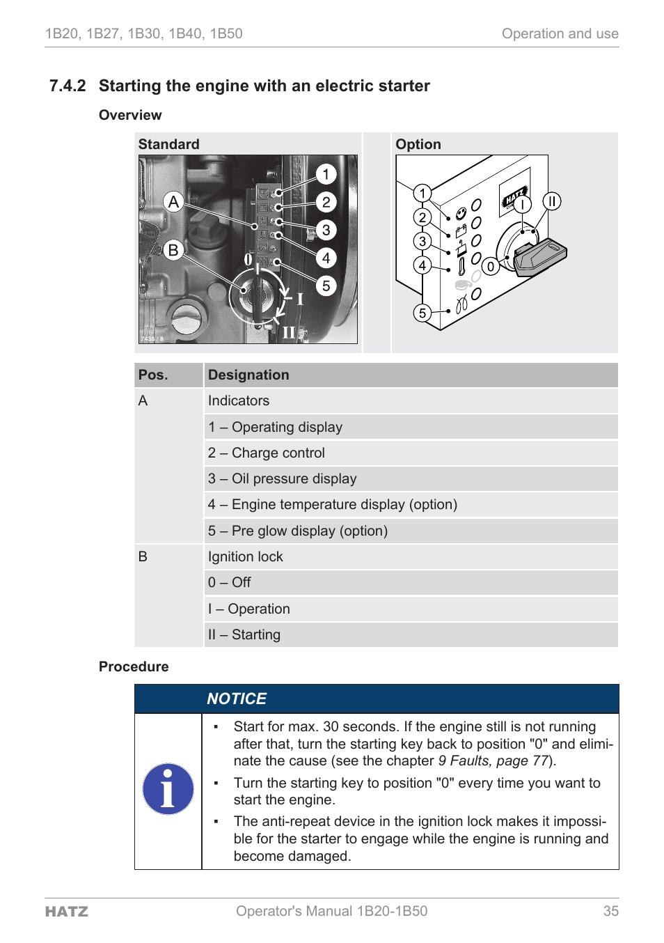 Hatz Diesel Motor 1b20 1b30 1b40 Manual del operador