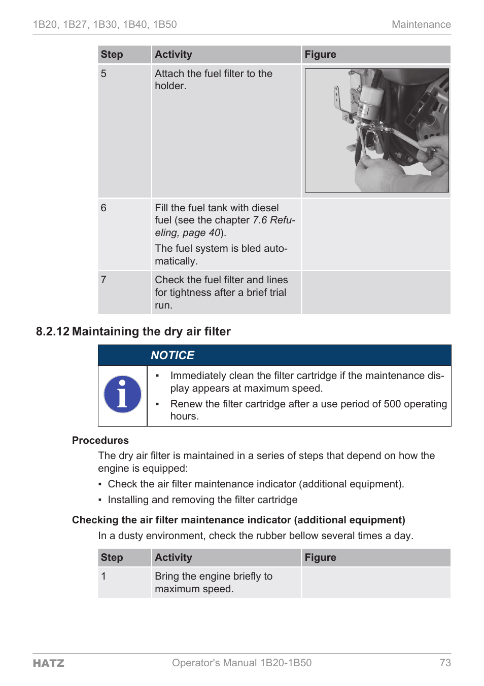 Maintaining the dry air filter, 12 maintain, Ing the dry air fil | HATZ  Diesel 1B 50 User Manual | Page 73 / 88
