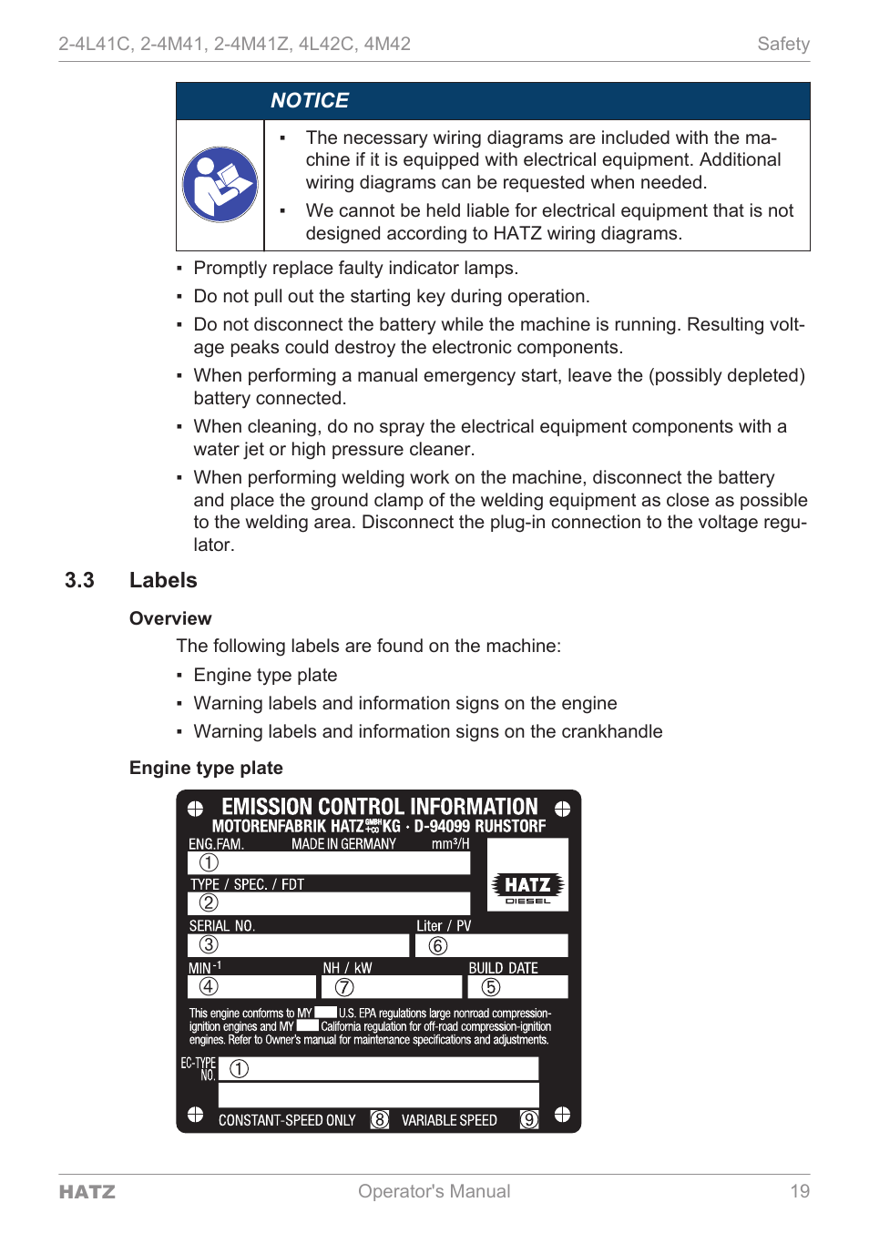 Labels   HATZ sel 4M42 User Manual   Page 19 / 105 on