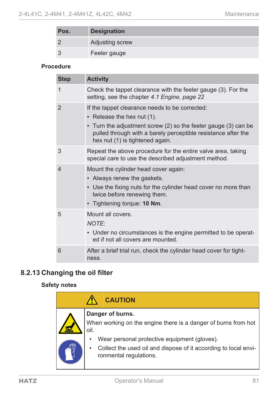 Changing the oil filter, 13 changing the oil filter | HATZ Diesel 4M42 User  Manual | Page 81 / 105