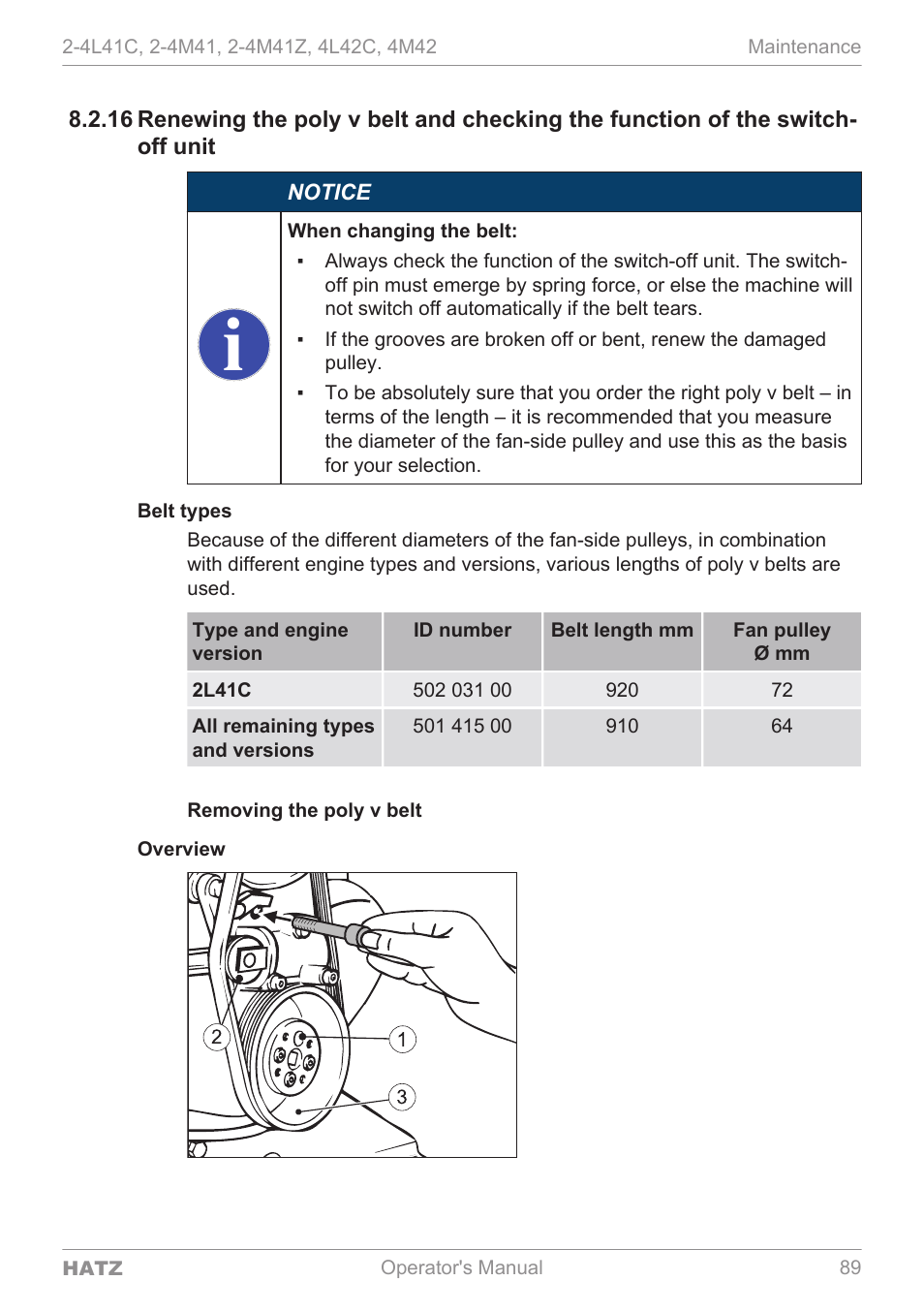 HATZ Diesel 4M42 User Manual | Page 89 / 105 | Also for: 4L42C, 2-4M41Z,  2-4M41, 2-4L41C
