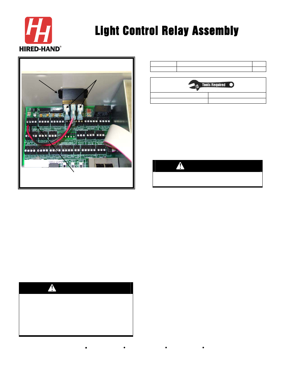 Hired Hand Evolution Series 3000 3001 Light Control Relay Assembly Read Wiring Diagram User Manual 6 Pages Also For 1200