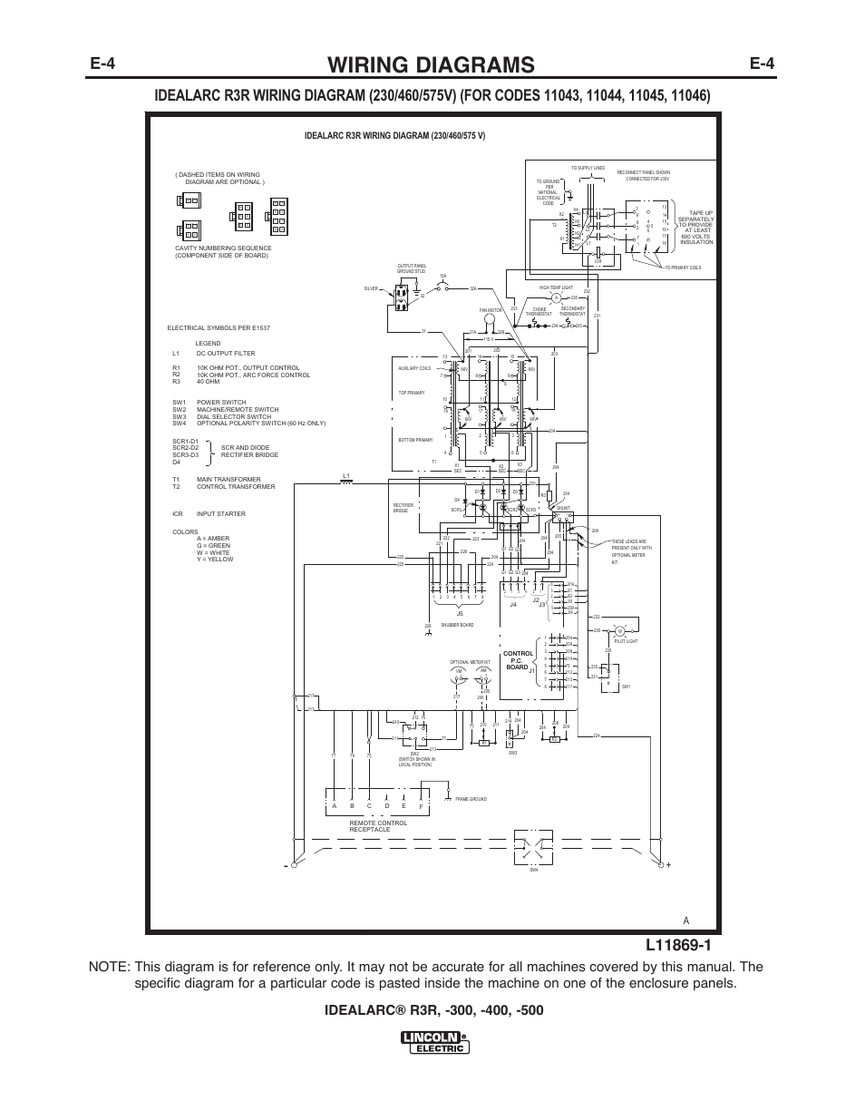 Wiring Diagrams Lincoln Electric Im409 Idealarc R3r 400 User 225 S Diagram Manual Page 26 32