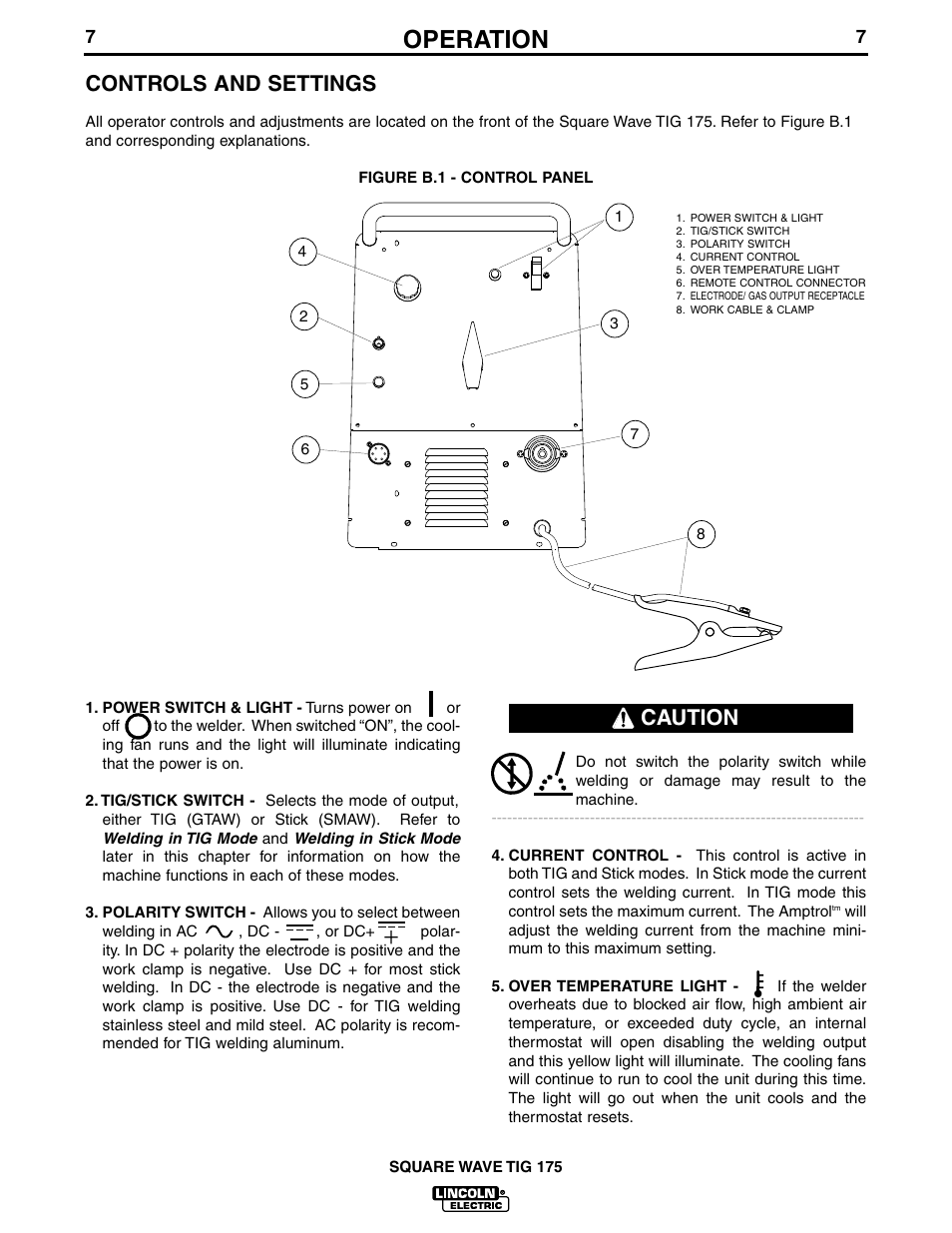 Operation Controls And Settings Caution Lincoln Electric Im565 Tig Welding Machine Diagram Square Wave 175 User Manual Page 14 32