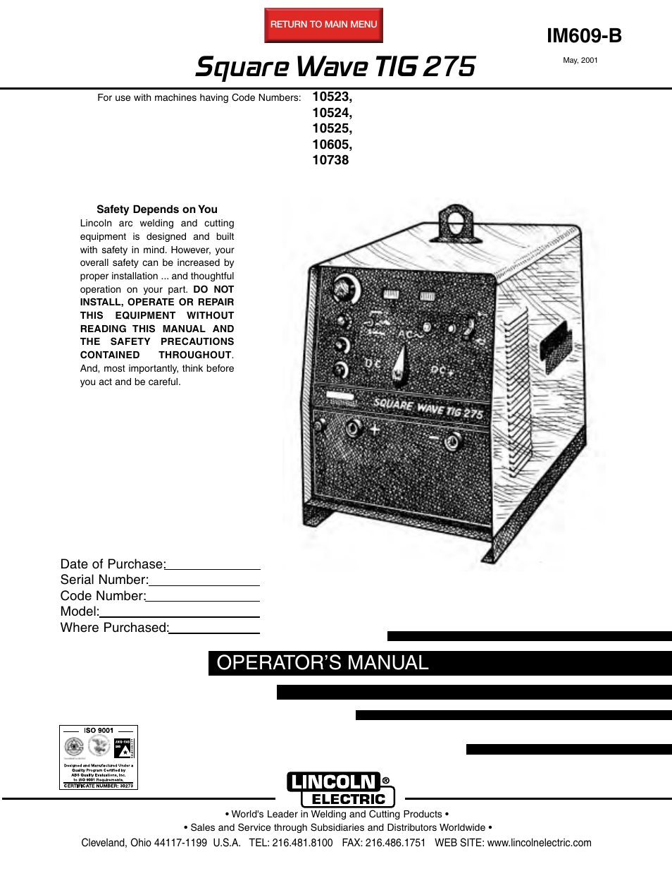 lincoln electric im609 square wave tig 275 user manual 46 pages rh manualsdir com AC DC TIG Welders Lincoln Lincoln Electric Welding Helmets