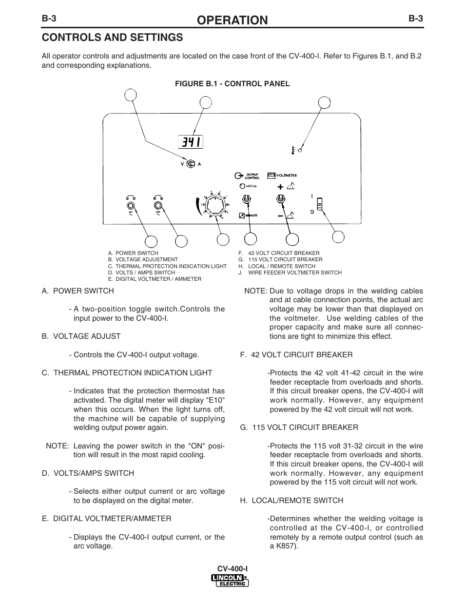 Operation, Controls and settings   Lincoln Electric IM501 IDEALARC CV400-I  User Manual   Page 14 / 44