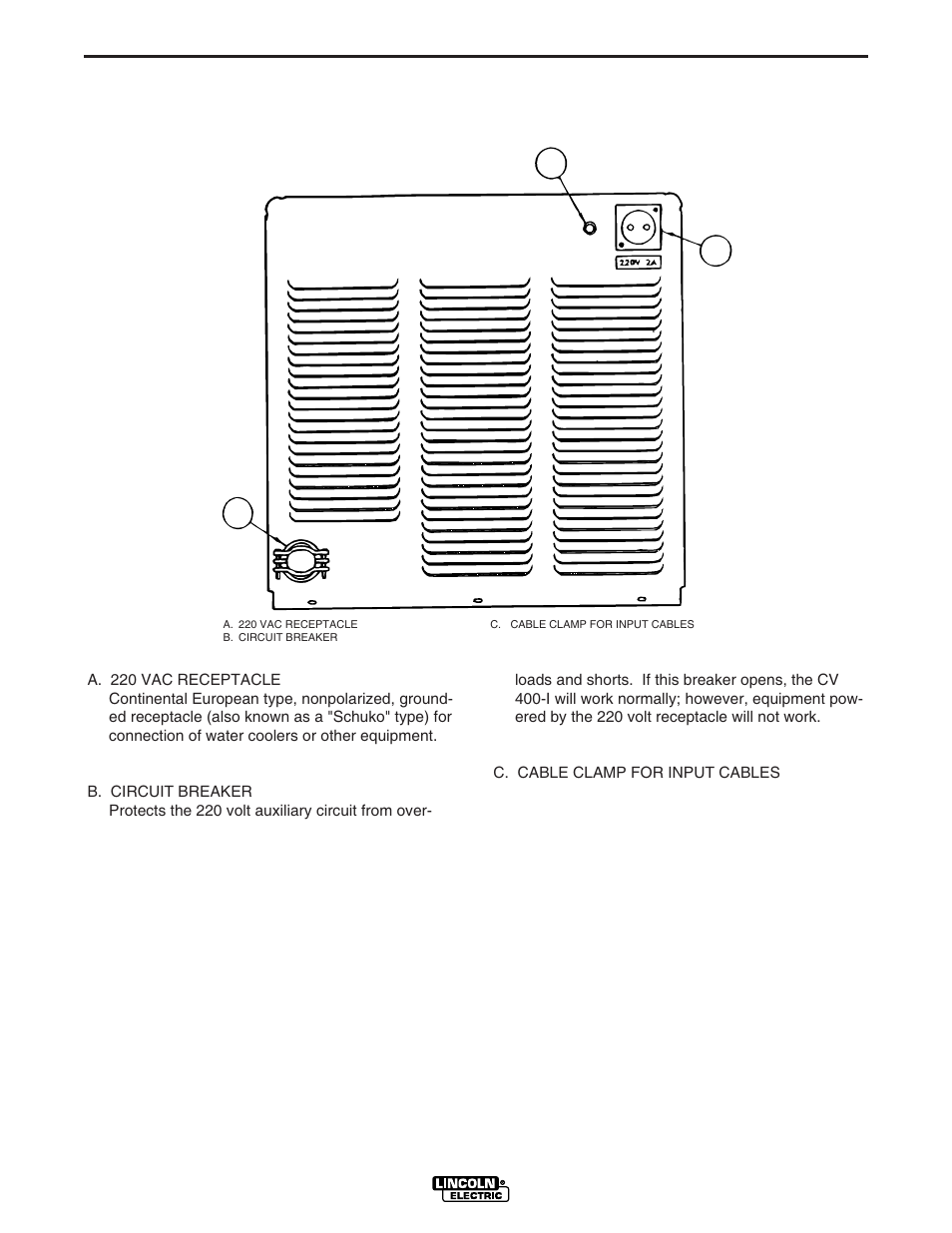Operation, Ab c, Case back connections | Lincoln Electric IM501 IDEALARC  CV400-I User Manual | Page 17 / 44