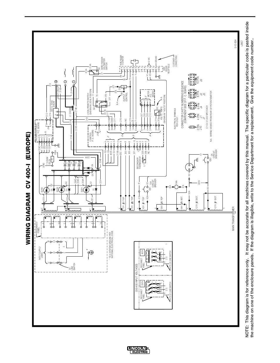 Diagrams     Cv400i     Wiring       diagram    cv 400i  europe       Lincoln    Electric IM501 IDEALARC CV400I