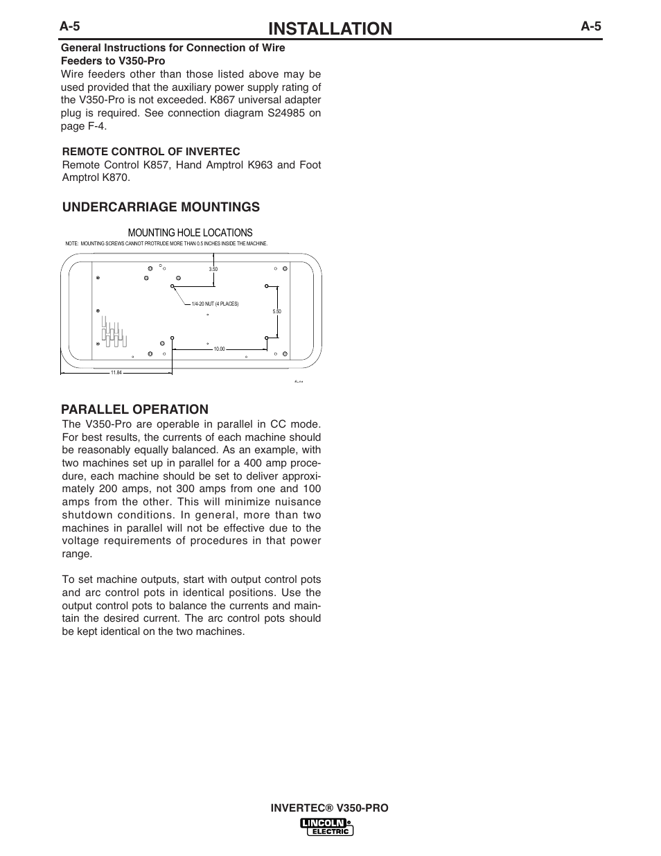 Lincoln K870 Amptrol Wiring Diagram Schematics Installation Undercarriage Mountings Parallel Operation Ottawa Diagrams