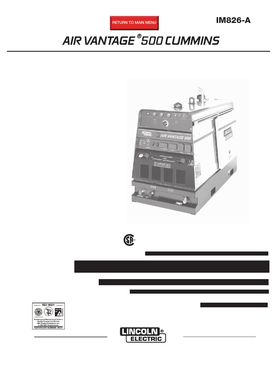 lincoln electric im826 air vantage 500 cummins user manual 51 pages rh manualsdir com Lincoln Welder Air Compressor Lincoln Air Vantage 650