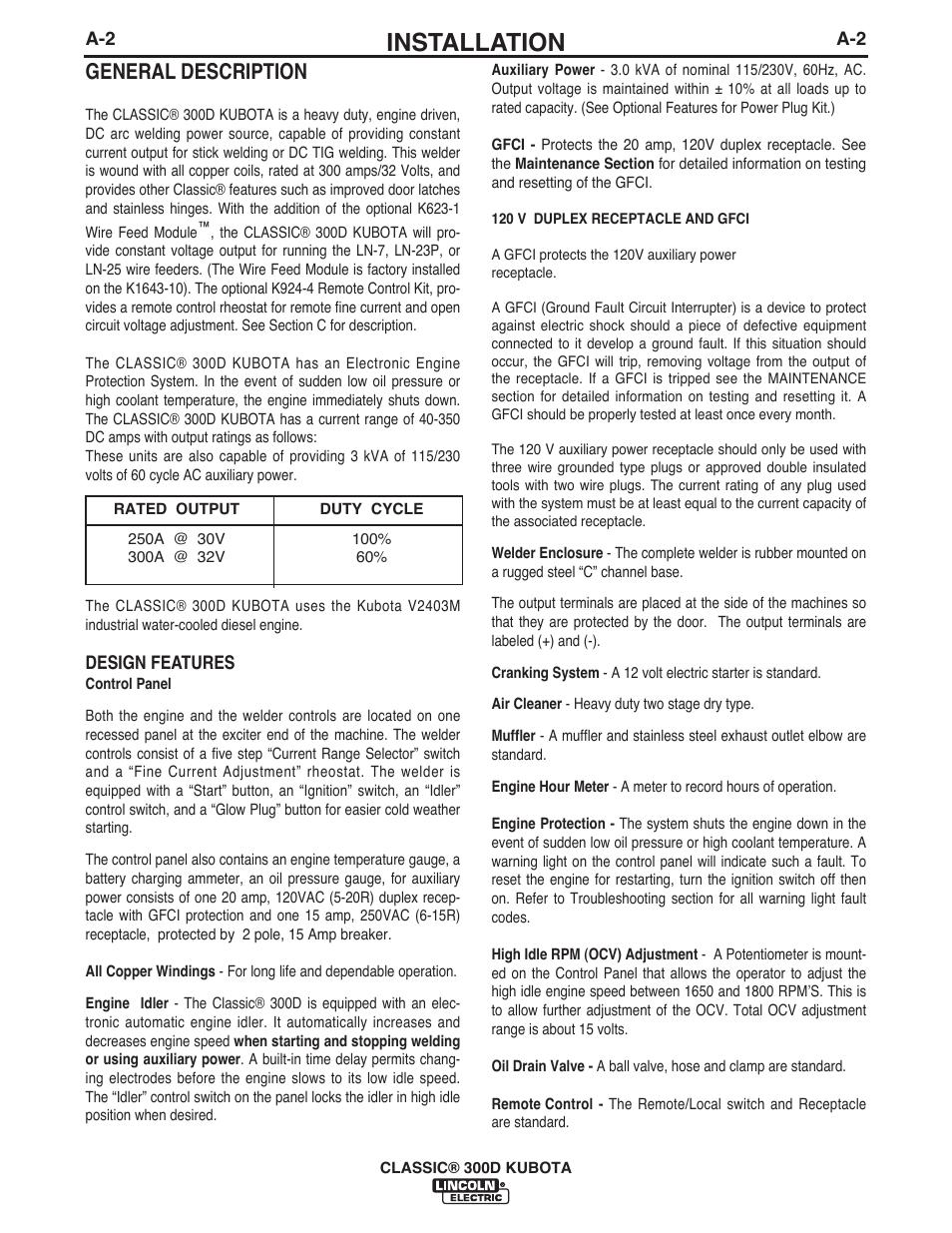 Installation, General description   Lincoln Electric IM996 CLASSIC