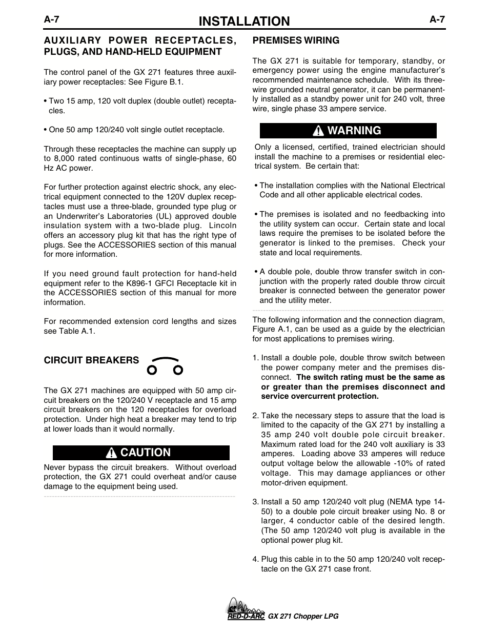 Installation Caution Warning Lincoln Electric Im635 Red D Arc Gx Circuit Breaker Apparatus And On Wiring 240 Volt Gfci 271chopper Lpg User Manual Page 15 48