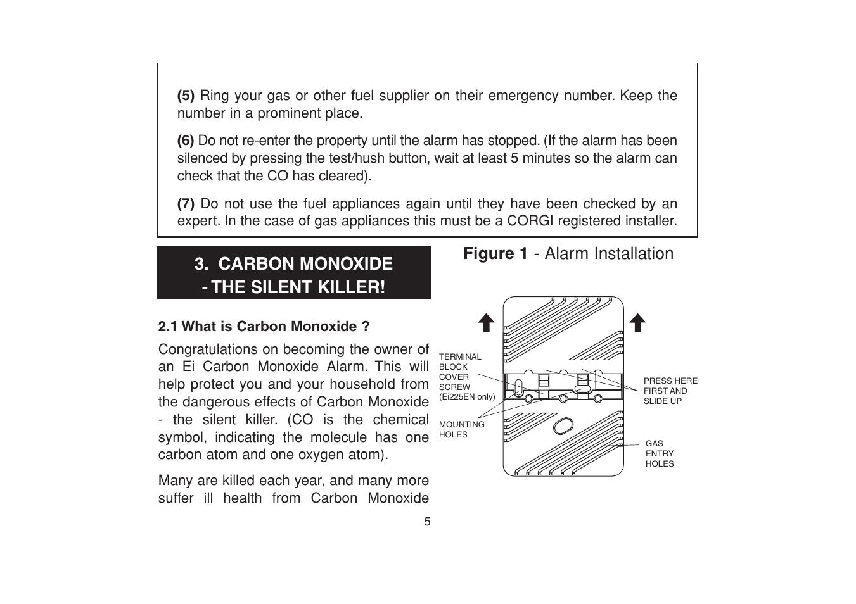 Carbon Monoxide The Silent Killer Figure 1 Alarm Installation
