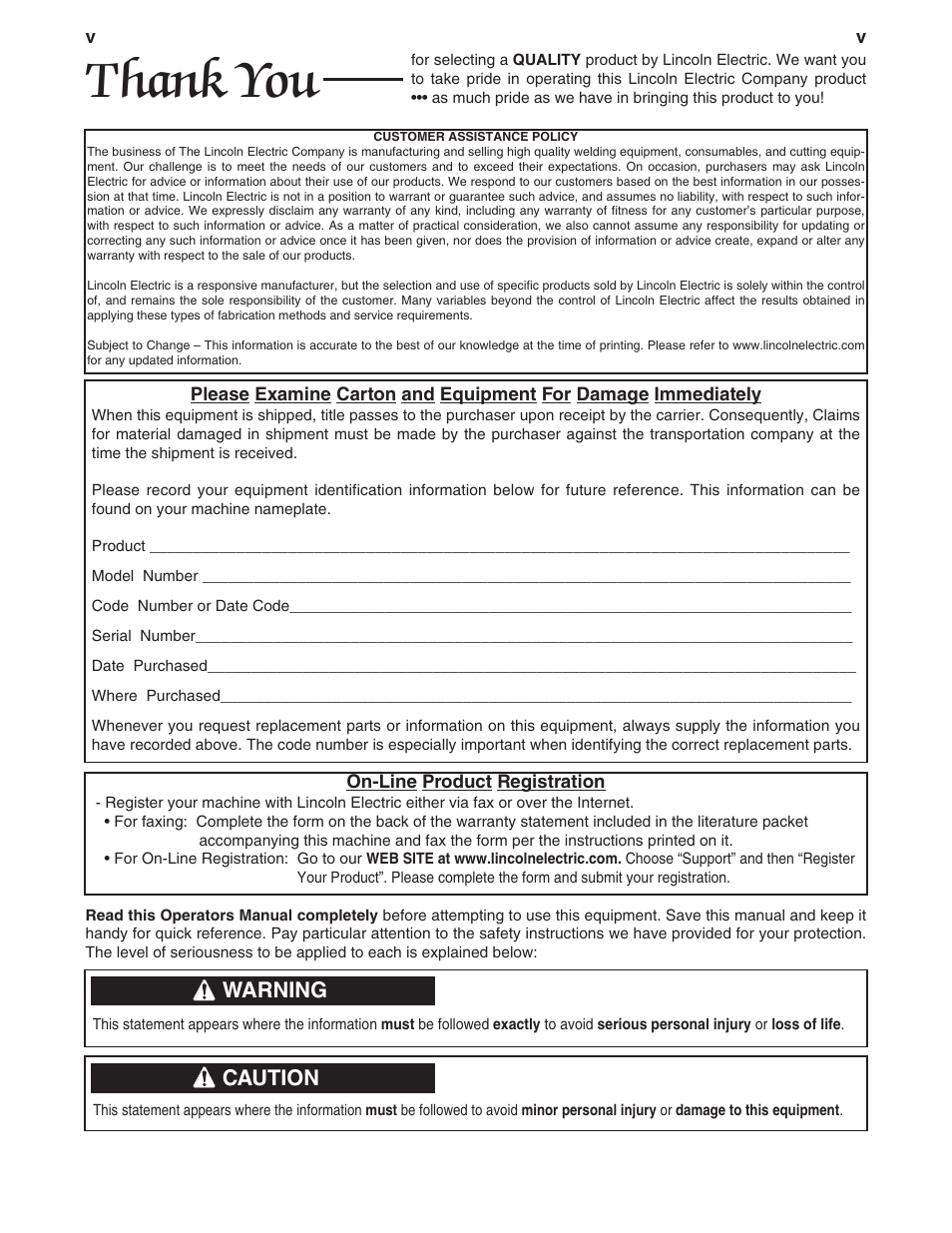 Warning, Caution | Lincoln Electric IM420 IDEALARC DC-1000 User Manual |  Page 6