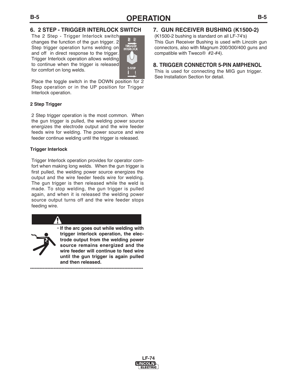 Operation | Lincoln Electric IM872 LF-74 WIRE FEEDER User Manual ...