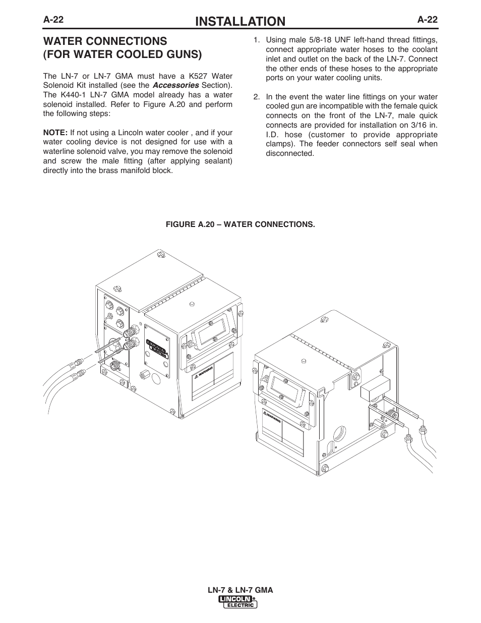 Installation, Water connections (for water cooled guns) | Lincoln Electric  IM351 LN-