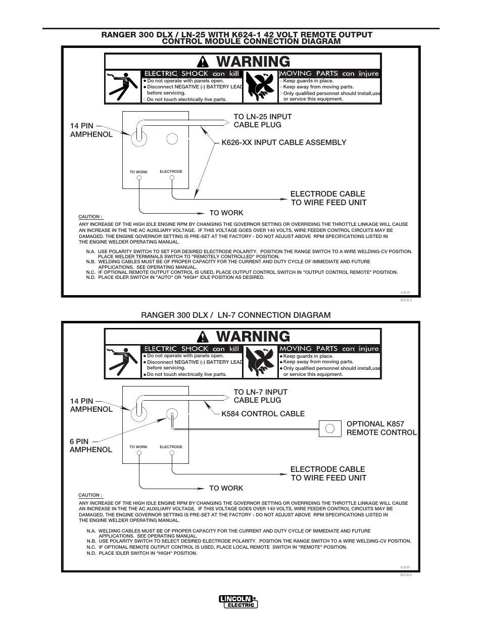 Connection diagrams, Warning | Lincoln Electric IM571 RANGER 300 D ...
