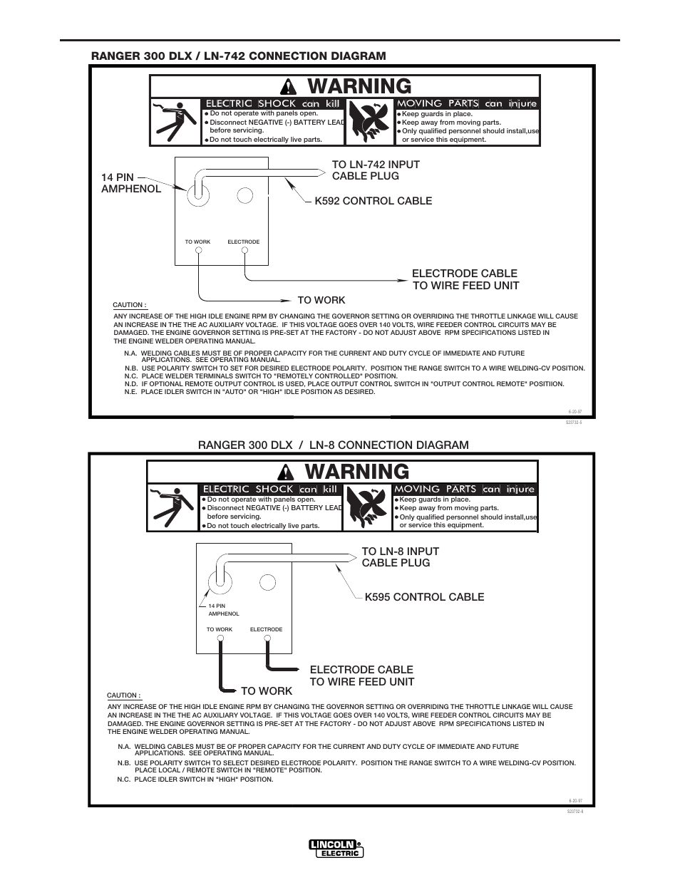 Connection Diagrams Warning Lincoln Electric Im571 Ranger 300 D Welder Wiring Diagram And Dlx User Manual