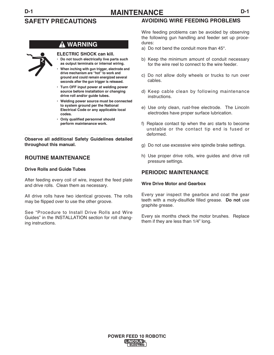 Maintenance, Safety precautions, Warning | Lincoln Electric