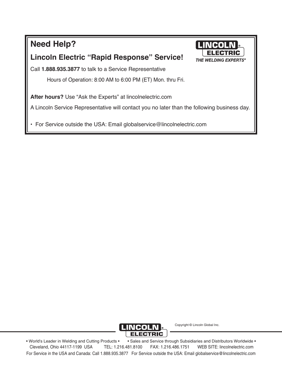 """Need help, Lincoln electric """"rapid response"""" service"""