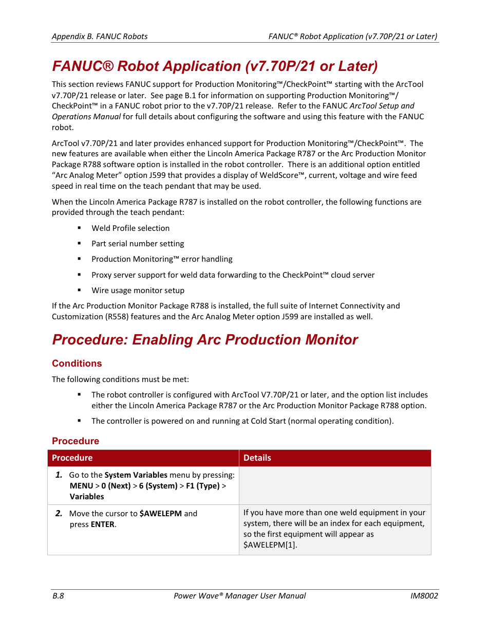 Procedure: enabling arc production monitor | Lincoln