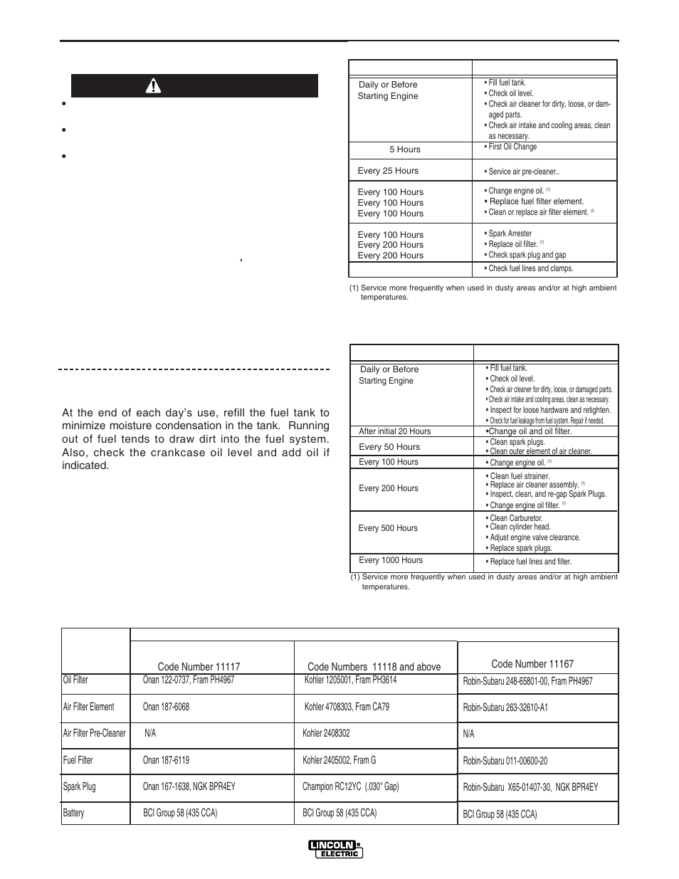 Maintenance, Kohler engine, Safety precautions | Lincoln Electric IM833  RANGER 250G User Manual | Page 25 / 49