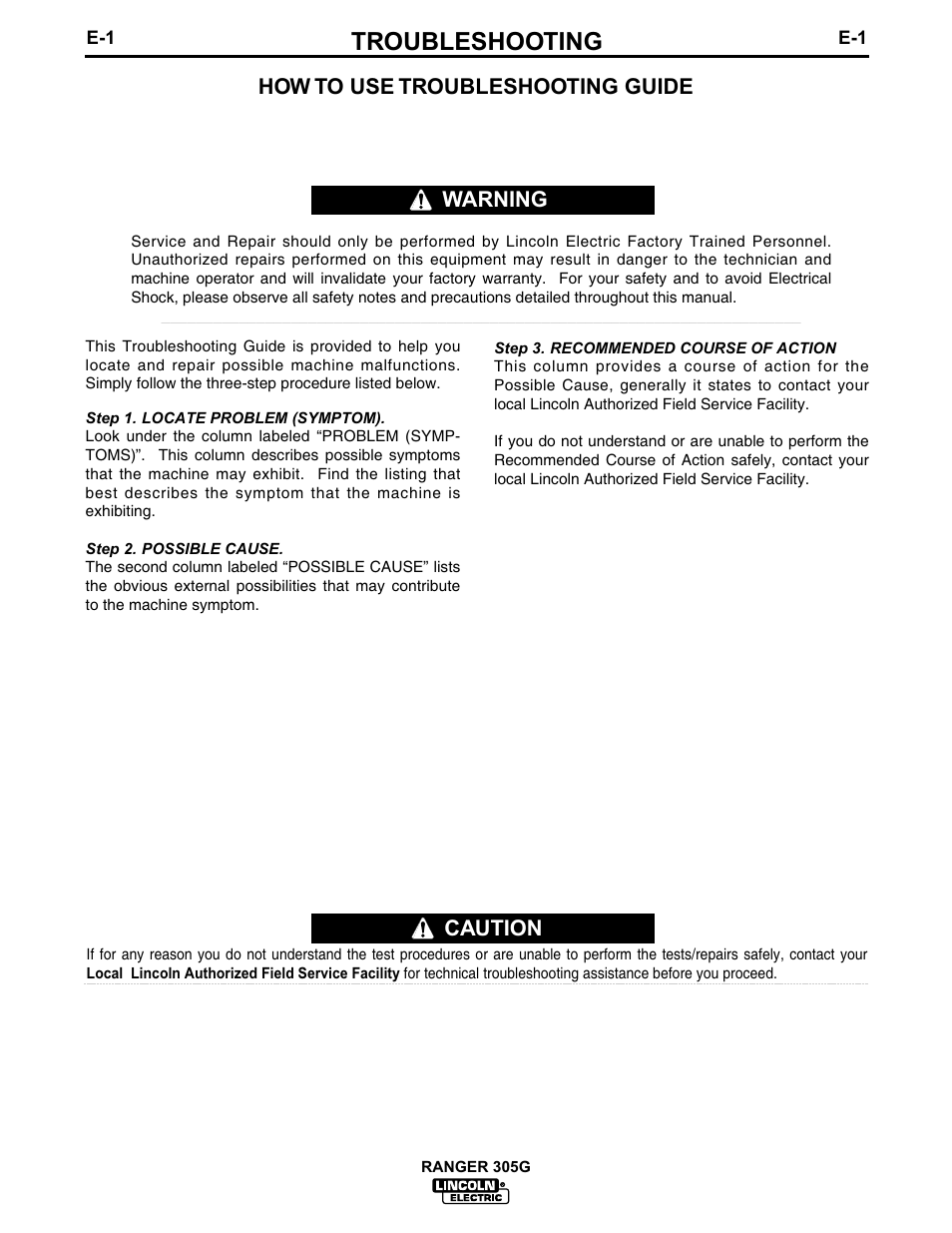 Troubleshooting, Caution, How to use troubleshooting guide | Lincoln  Electric IM674 RANGER 305 G User Manual | Page 29 / 50