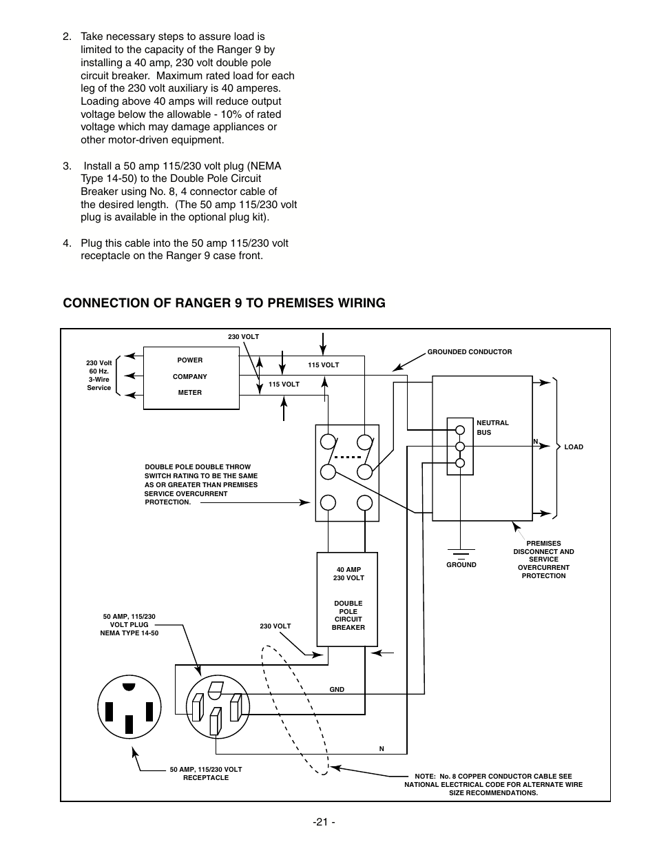 Connection of ranger 9 to premises wiring | Lincoln Electric IM511 on standard receptacle wiring-diagram, l6-30r receptacle wiring-diagram, nema twist plug and receptacle chart, 50 amp receptacle wiring-diagram, nema 14-50r wiring-diagram, nema 10-30r wiring-diagram, nema l14-30p wiring-diagram, l5-30r receptacle wiring-diagram,