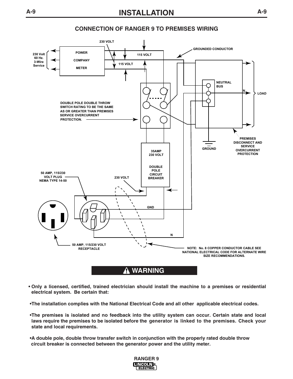 Installation, Warning, A-9 connection of ranger 9 to premises wiring |  Lincoln Electric IM753 RANGER 9 User Manual | Page 17 / 44