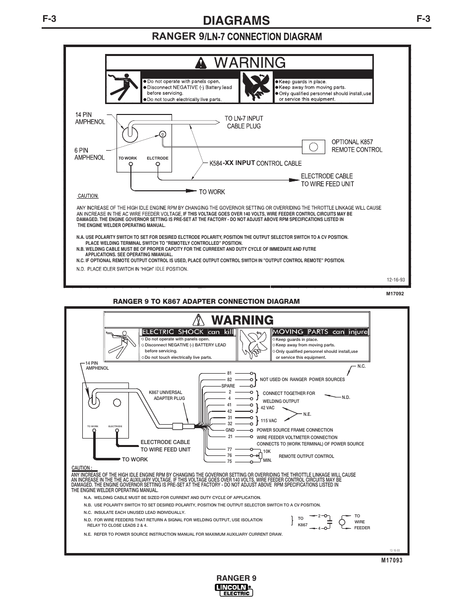 Diagrams, Warning, Ranger 9 | Lincoln Electric IM753 RANGER 9 User ...