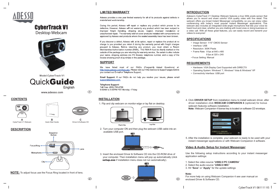 Adesso V1 User Manual | 1 page