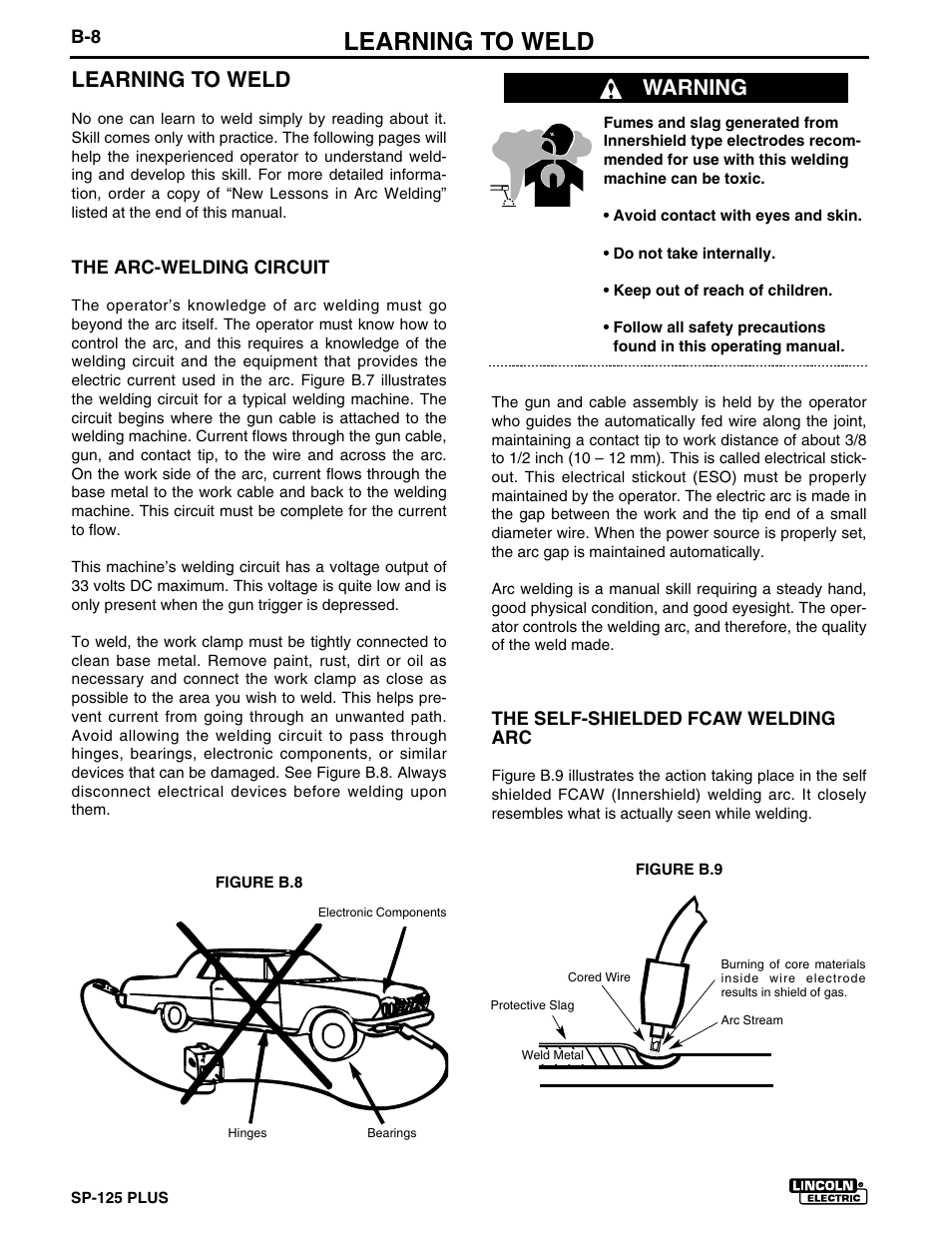 Learning to weld, Warning   Lincoln Electric IM536 SP-125 Plus User Manual  