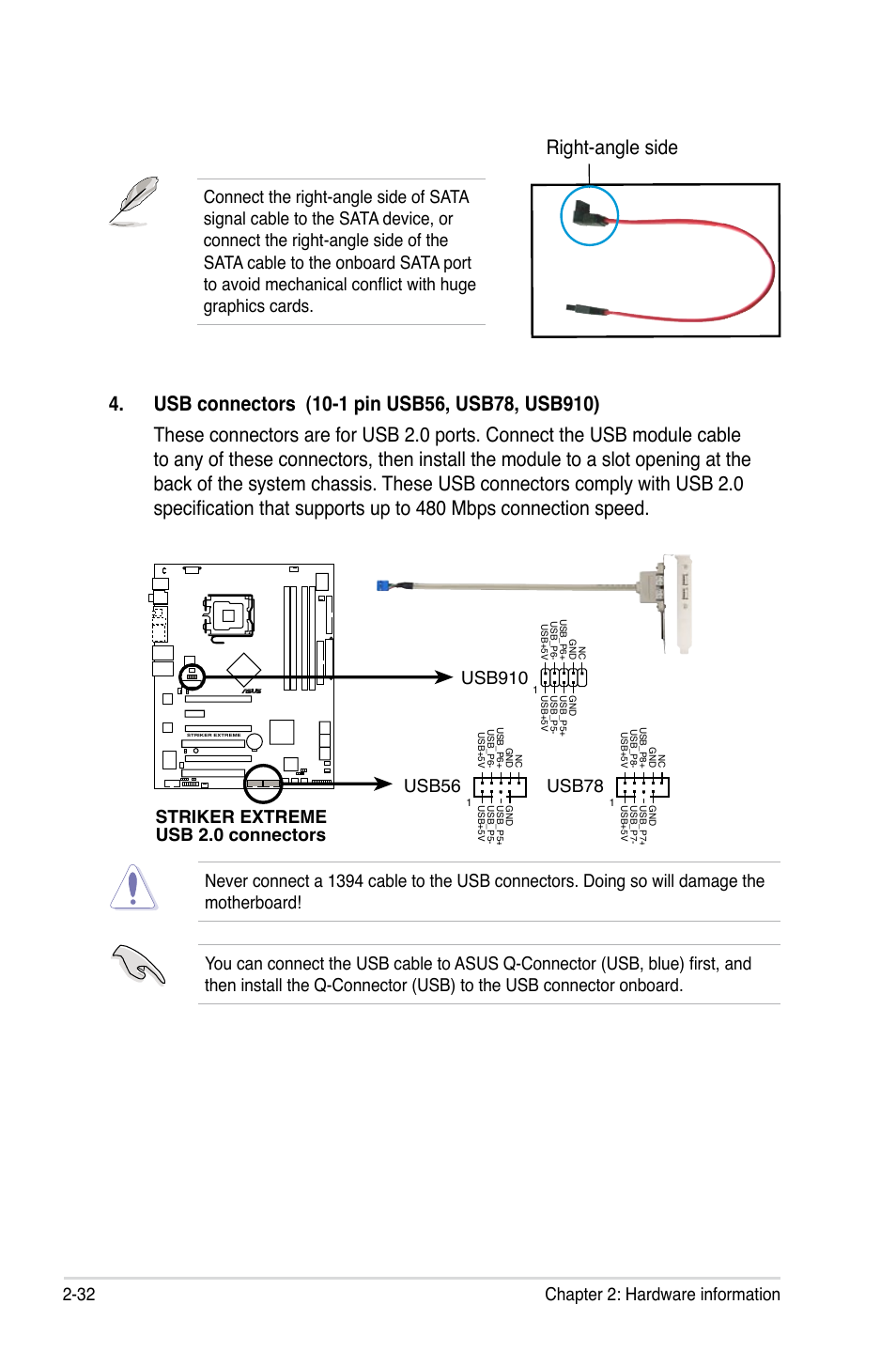 Striker Extreme Usb 20 Connectors Usb56 Usb78 Usb910 Asus To Sata Cable Wiring Schematic User Manual Page 58 172