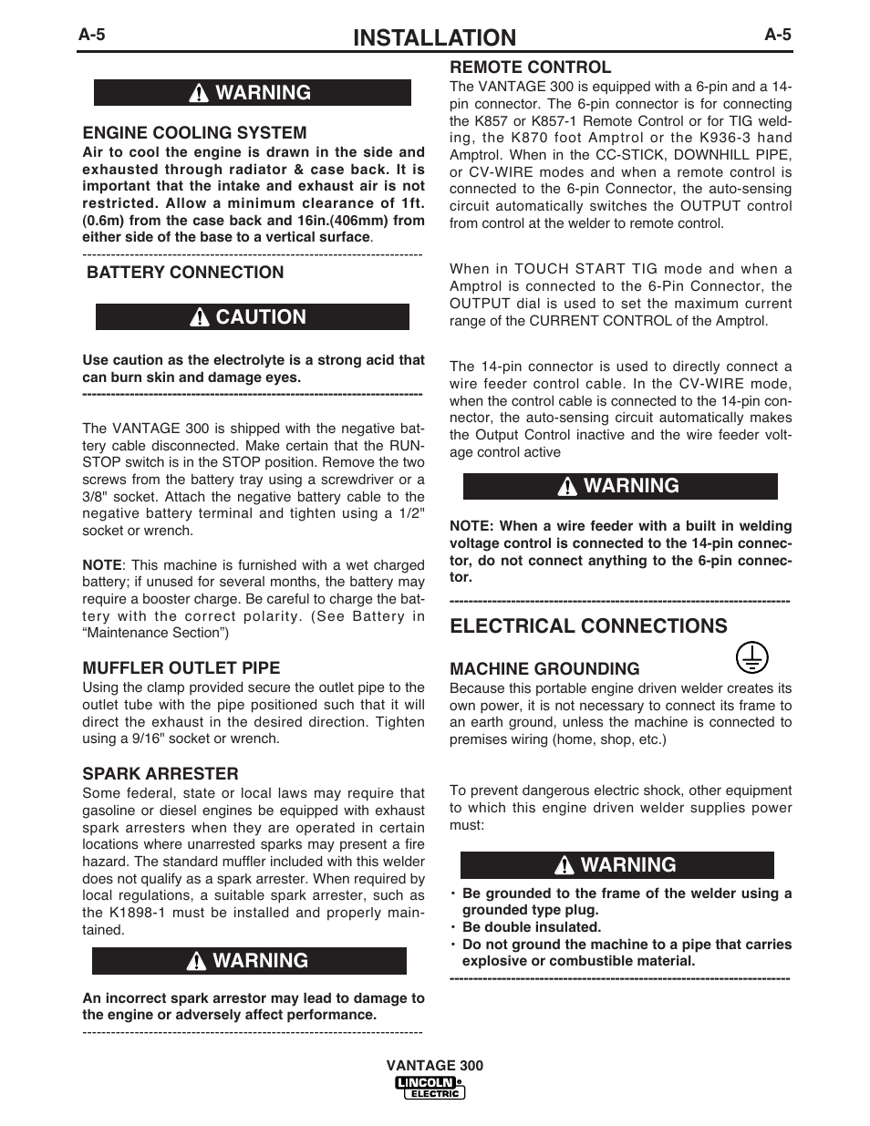 Installation Electrical Connections Warning Lincoln Electric How To Do Wiring In Home Im874 Vantage 300 User Manual Page 13 57
