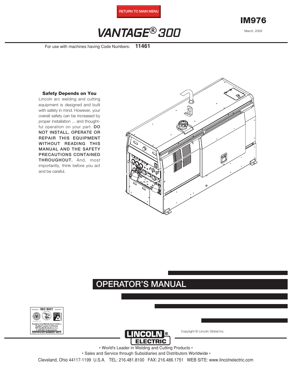 lincoln electric im976 vantage 300 page1 lincoln electric im976 vantage 300 user manual 54 pages