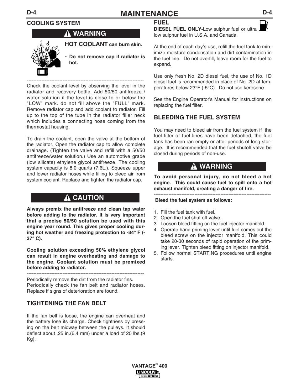 Maintenance, Warning caution warning | Lincoln Electric