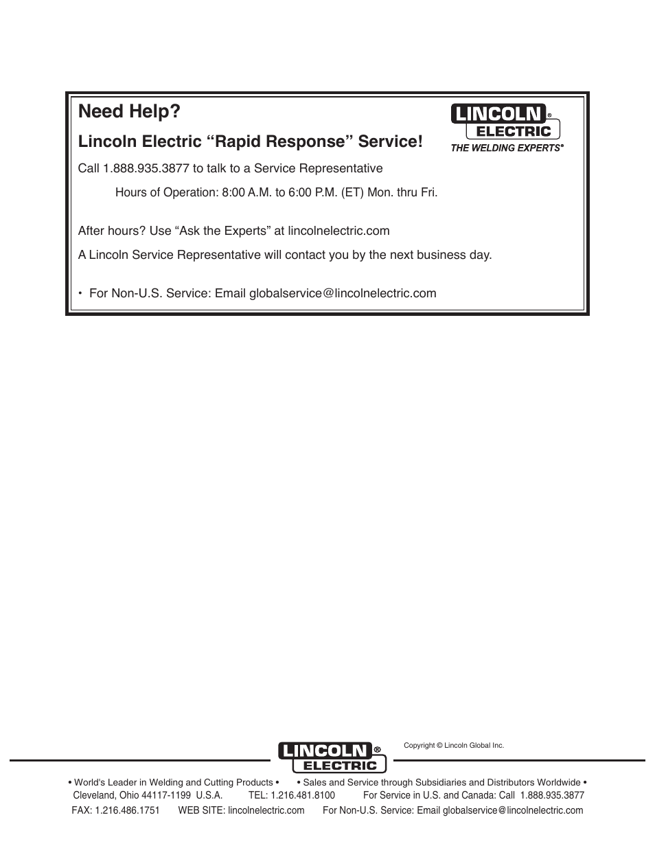 """Need help, Lincoln electric """"rapid response"""" service   Lincoln"""