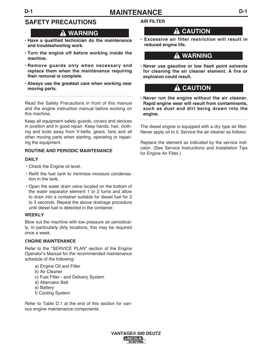 Maintenance, Safety precautions, Warning | Caution, Caution warning |  Lincoln Electric IM954 VANTAGE