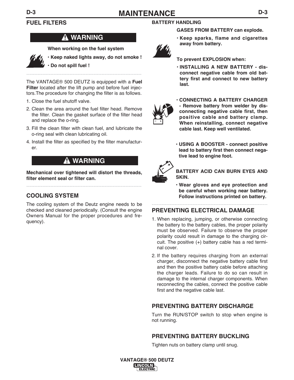 Maintenance Warning Lincoln Electric Im954 Vantage 500 Deutz User Fuel Filters Manual Page 31 53